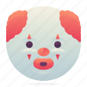 clown, emoji, emoticon, smiley icon