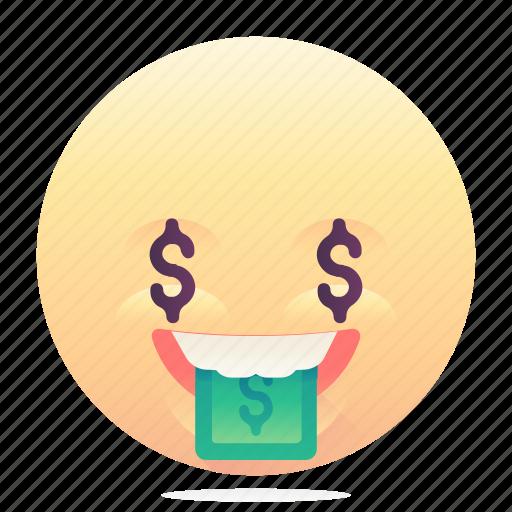 emoji, emoticon, greedy, smiley icon