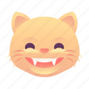 cat, emoji, emoticon, grin, smiley