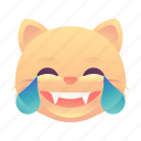cat, emoji, emoticon, laugh, smiley icon