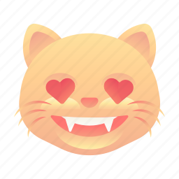 cat, emoji, emoticon, love, smiley icon