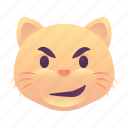 cat, emoji, emoticon, smiley, smirk