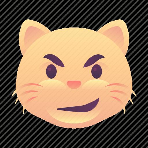 cat, emoji, emoticon, smiley, smirk icon