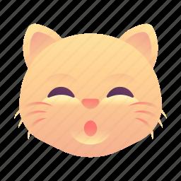 cat, emoji, emoticon, smiley, whistle icon