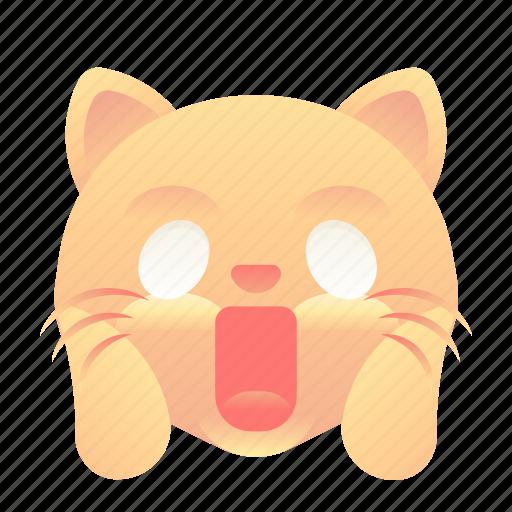 cat, emoji, emoticon, shock, smiley icon