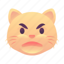 angry, cat, emoji, emoticon, smiley icon