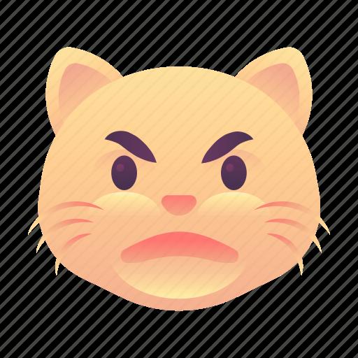 angry, cat, emoji, emoticon, smiley icon