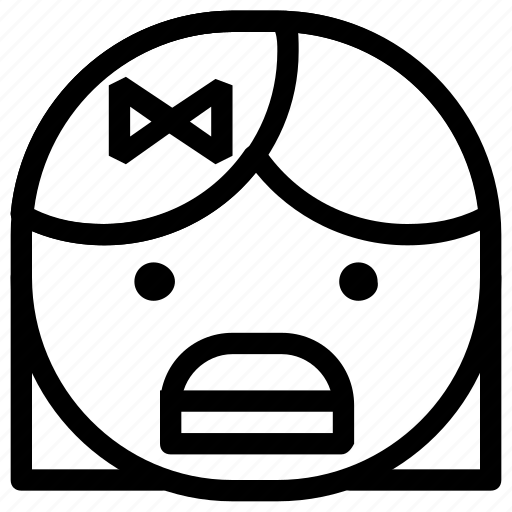 emoticon, girl, shock icon