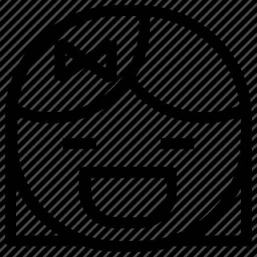 emoticon, girl, grin icon