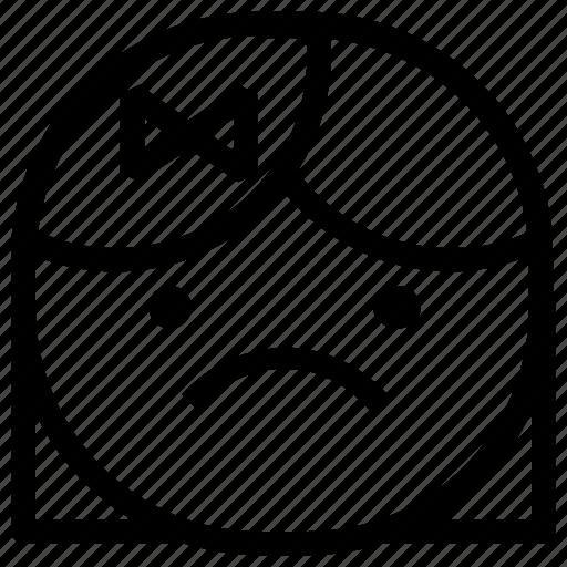 emoticon, girl, sad icon