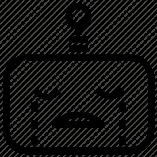 cry, emoticon, robot icon