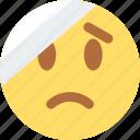 bandage, emoji, emoticon, face, head, sticker, with