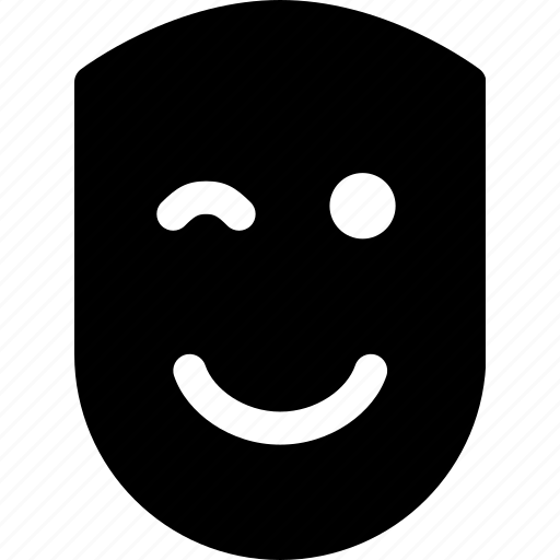 emotion, face, fun, happy, human, pleased, wink icon