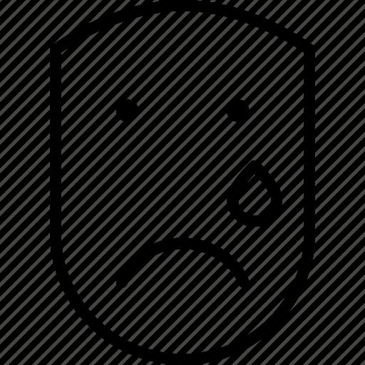 cry, emotion, face, human, sad, teardrop icon