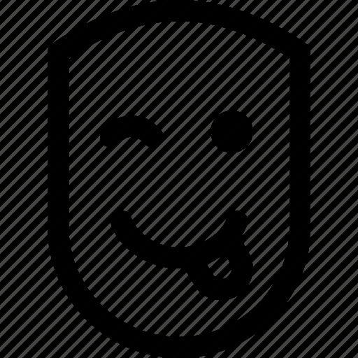 emotion, face, fun, human, pleased, smile, tongue icon