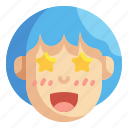 emoticons, emoji, feelings, emotion, ruffled, thrilled, excited icon