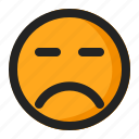angry, disappointed, emoji, emoticon, silent icon