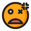 angry, annoyed, dead, emoji, emoticon, fainted icon