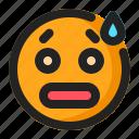 emoji, emoticon, sad, surprised, tired icon
