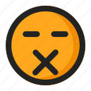 dead, emoji, emoticon, silent