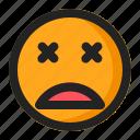 dead, emoji, emoticon, fainted