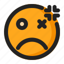 angry, annoyed, blink, dead, emoji, emoticon, fainted icon