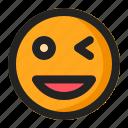 blink, emoji, emoticon, happy, laugh, smile