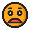 emoji, emoticon, sad, worried