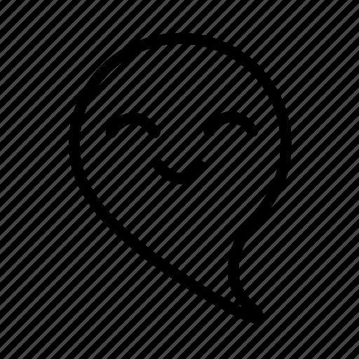 cartoon, emoji, ghost, happy, smile icon