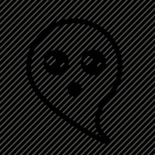 cartoon, emoji, ghost, surprised icon