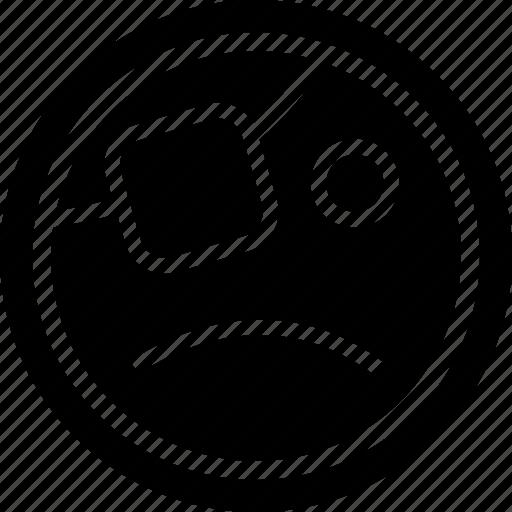 face, pirate, sad icon