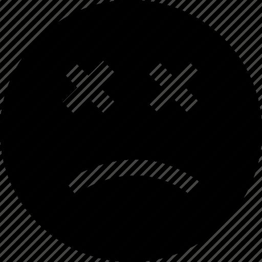 beaten, face, sad, up icon