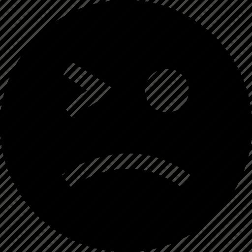blink, eye, face, sad icon