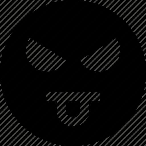 emotion, evil, face, tongue icon