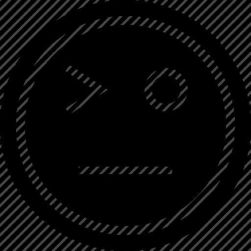 emoji, face, sad, wink icon