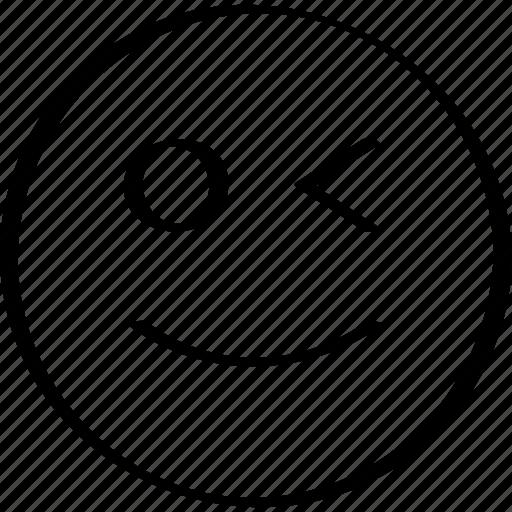 emoji, expression, face, winking icon