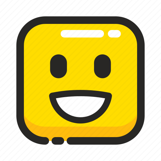 emoji, emoticon, expression, happy, laugh, smile, square icon