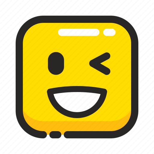 blink, emoji, expression, face, happy, square, wink icon
