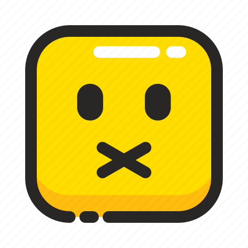 emoji, mute, no comment, noisy, silent, sound, square icon