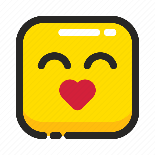 Emoji, heart, kiss, like, love, romance, square icon - Download on Iconfinder