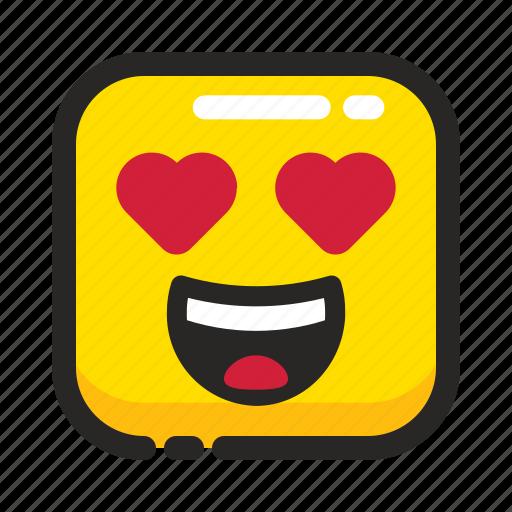 emoji, happy, heart, like, love, romantic, square icon