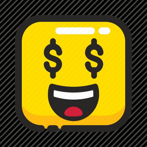 dollar, emoji, emotion, face, happy, money, square icon