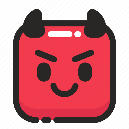 cute, devil, emoji, halloween, rounded, spooky, square icon