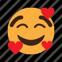 smiley, emoji, love, hearts, emoticon