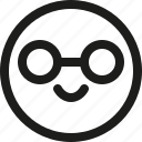 avatar, emoticon, intelligent, nerd, scalable, smart, smiley icon