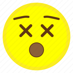 dead, dizzy, emoji, face, hovytech, wow, x icon