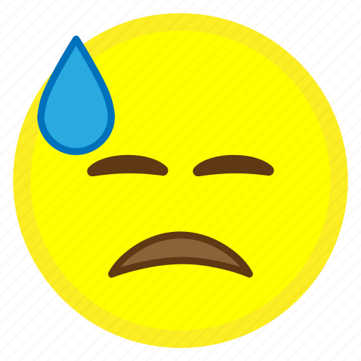 cold, emoji, face, hovytech, sad, sweat, water icon