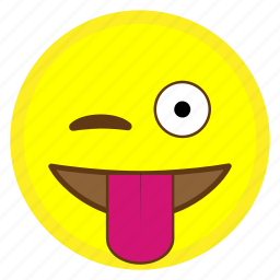 emoji, eye, face, hovytech, tongue, wink, winking icon