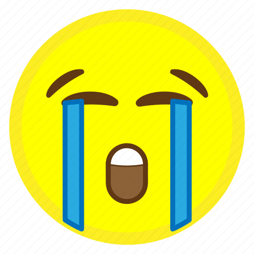 crying, emoji, face, hovytech, loud, loudly, water icon