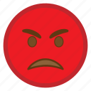 angry, bad, emoji, face, hovytech, pouting, red icon